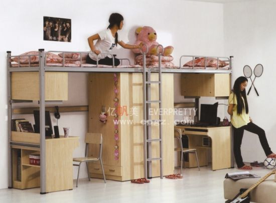 China Double Bunk Bed With Desk