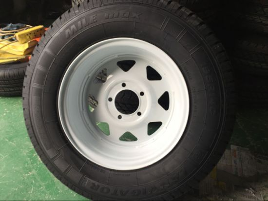 "Steel Spoke Trailer Wheel with - 15"" X 5"" Rim - 5 on 4-1/2 - White Powder Coat pictures & photos"
