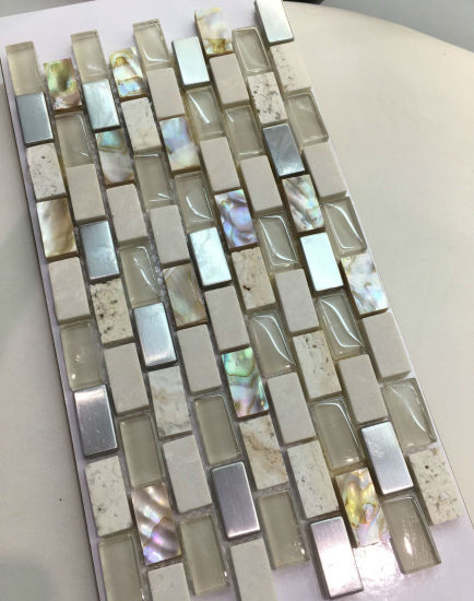 Hot Sale Glass and Marble, Shell Mixed Mosaic Tile (15*30mm) pictures & photos