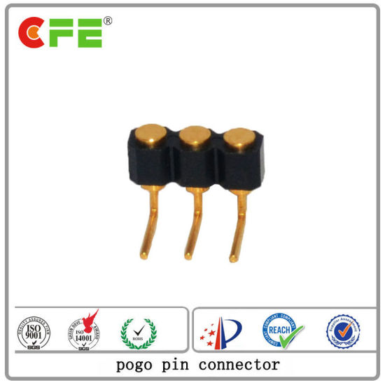 3pin Right Angle Gold Plated Spring Loaded Pogo Connector