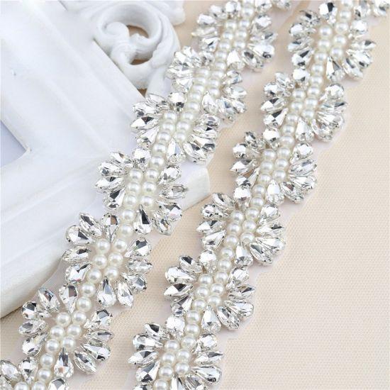 Bling Sash Pearl Applique Bridal Belt Crystal Appliques Trim for Wedding  Dresses fc5ec87a52ad