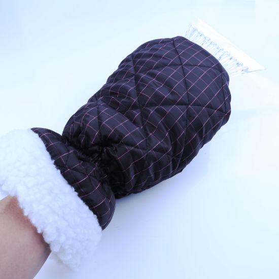 Ice Scraper Mitt Windshield Snow Scrapers with Waterproof Snow Remover Glove Lined of Thick Fleece