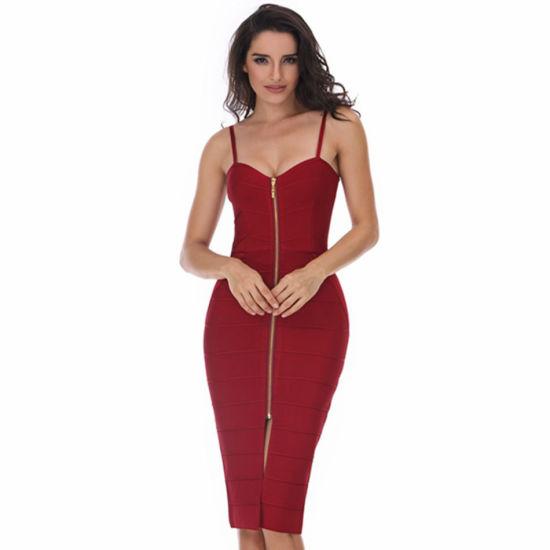 Claret Spaghetti Strap V-Necked Sexy Dress Party Prom Bandage Dress
