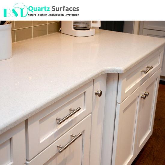 White Sparkling Quartz Kitchen Countertop
