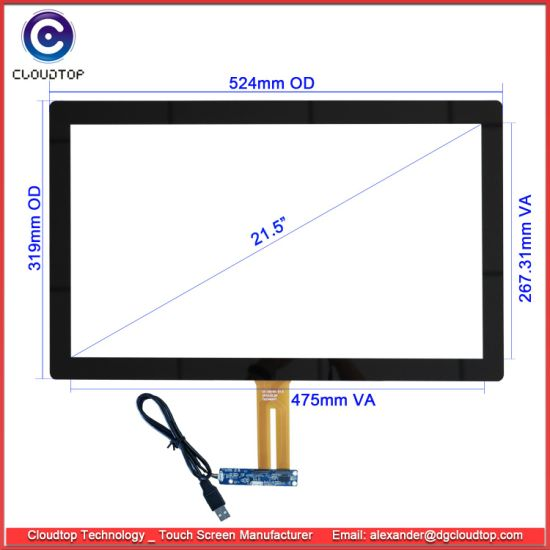"Multi Capacitive Touch Screen with USB Interface for 21.5"" Industrial Touch Monitor pictures & photos"