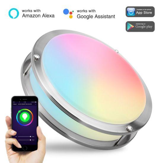15W Round Lighting Fixture Amazon Alexa Voice Controlled WiFi Smart Ceiling  Light for Kitchen Hallway Stairwell