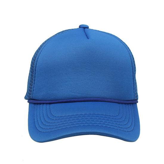 7afaa0e0 China Dark Blue Foam Mesh Polyester Rope Trucker Hats Blank Custom ...