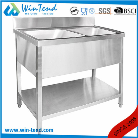 Commercial Used Stainless Steel Kitchen Sink Workbench Table Wash Basin pictures & photos