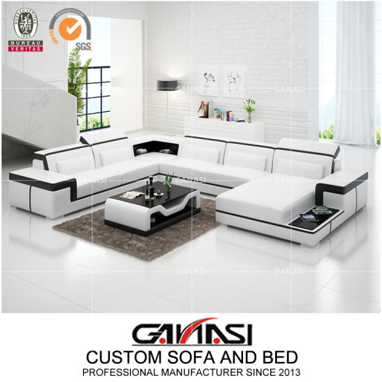 Fräscha China Divan Soffor Furniture with Black Leather LED Sofa - China PG-25