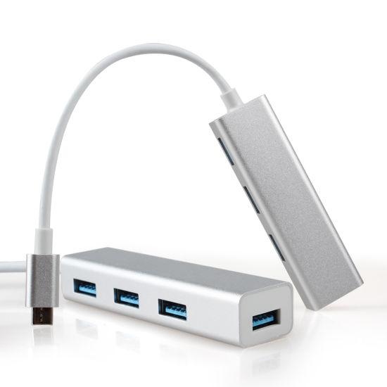 USB 3.1 Type C to 4 Ports USB 3.0 Hub Alumnium Shell