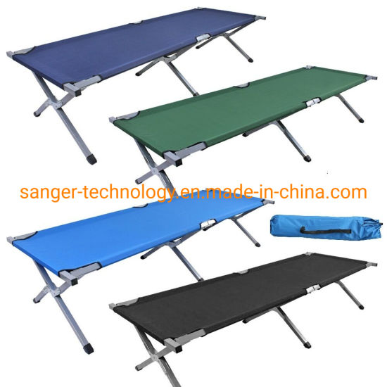 Heavy Duty Aluminium Single Folding Camp Guest Bed, Outdoor Travel Camping Cot with Bags
