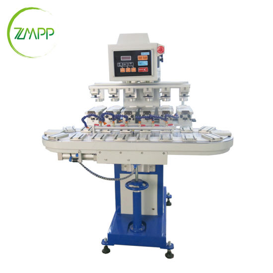 Multi Six Colour Convey Worktable Inkwell Pad Printing Machine