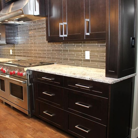 American Modern White Espresso Shaker Wood Kitchen Cabinets Factory Directly