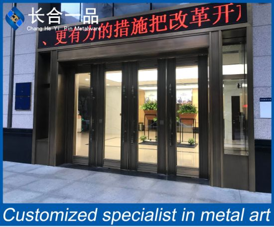 Customized Black Titanium Steel Metal Front Door and Tempered Glass for Bank Shopping Mall Office Building