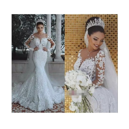 ab79a16d4 China Luxury Beads Lace Embroidery Sweetheart Long Sleeve Wedding ...