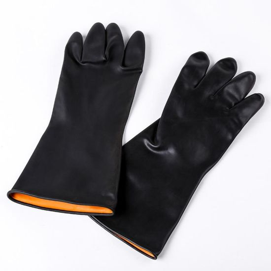 Black Industrial Natural Rubber Safety Glove Cheap Price
