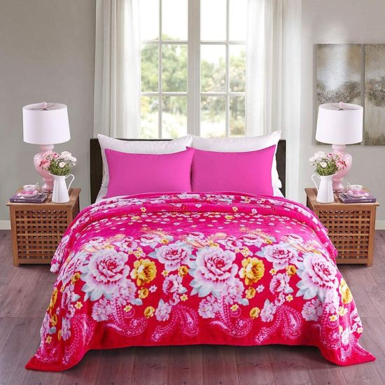 Super Soft Warm Blanket for Couch Sofa or Bed Wrinkle and Fade Resistant Fleece Flannel (Pink, King)