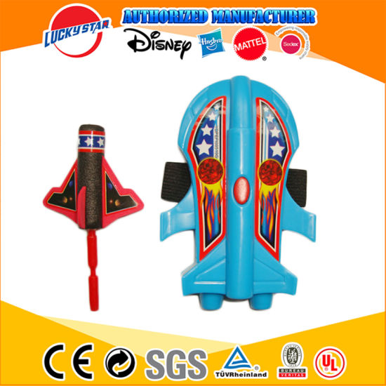 Cheap Blue Plastic Shuttle Shooter Soft Bullets Spaceship Spacecraft Battle Ship Launcher Toy