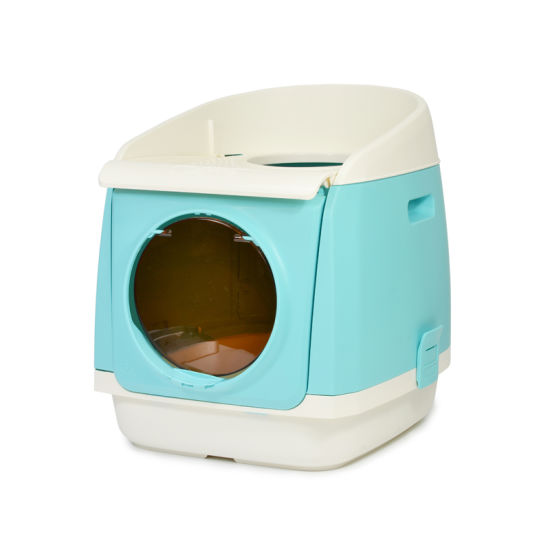 Free Cabin Style Plastic Cat Litter Pan, Cat Litter Box
