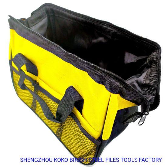 Yellow Black Color Waved Textile Exterior Pockets Tools Accessories Bag