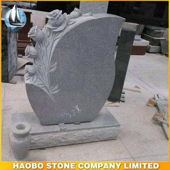 China Gray Granite Tear Drop Headstone with Carved Flowers