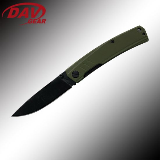 Black Stone Washed Bearing Pocket Folding Knife for Outdoor and Survial
