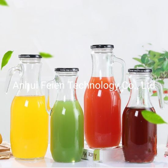 Wholesale Hot Sell 1.5L Wide Mouth Glass Juice Bottle with Handle