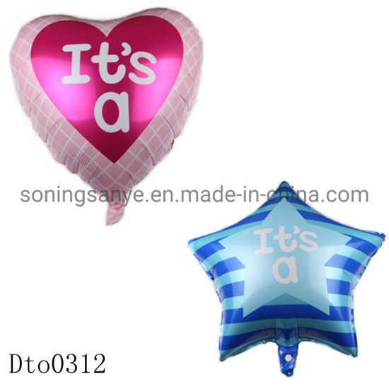 Dto0312 New Star Heart Shape Big Size It Is a Boy Girl Foil Helium Aluminum Balloons for Kids Birthday Party Decoration Supplies