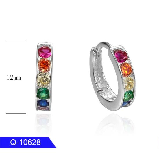 Wholesale New Design Fashion Personalized Jewelry Sterling Silver Multicolor CZ Earrings for Girls pictures & photos