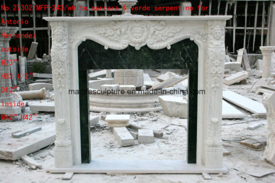 White Carrara Antique Hand Carved Marble Fireplace Mantel Sy-Mf326 pictures & photos