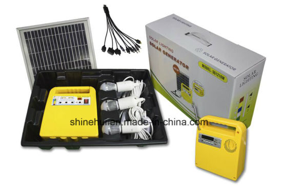 Mini Portable Solar Panel System with Mobile Phone Charger and Bulbs pictures & photos