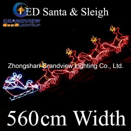 China 560cm led santa riding 4 reindeer sleigh christmas motif rope 560cm led santa riding 4 reindeer sleigh christmas motif rope lights aloadofball Images