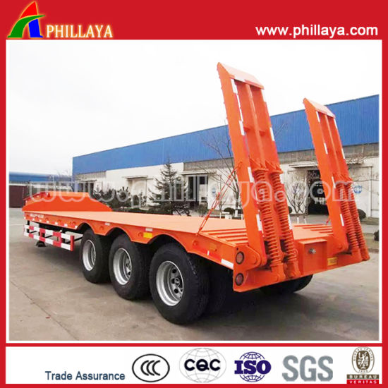3axles 60tons Lowbed Crawler Excavator Transport Trailer with Ramp Ladders pictures & photos