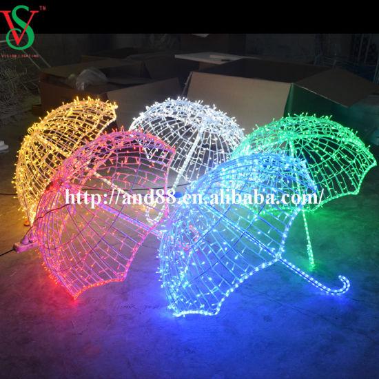 Outdoor Wholesale Festive Motif Lights Umbrella