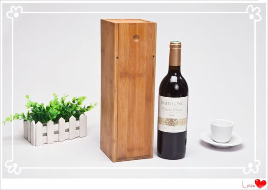 Personalized Custom Wholesale Bulk Cheap Bamboo Wooden Wine Boxes with Sliding Design