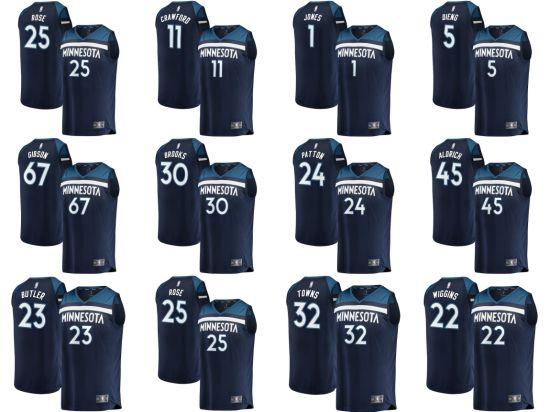 be863fcde Minnesota Timberwolves Fanatics Navy Swingman Custom Icon Edition  Basketball Jerseys