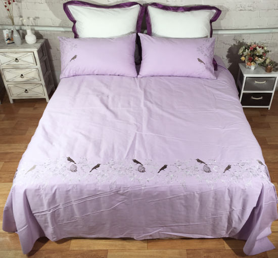 Light Purple Birds Flowers and Butterfies Embroidery Bedding Set pictures & photos