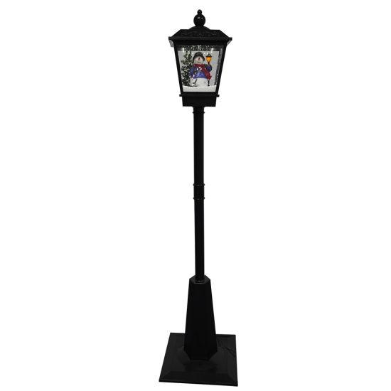 New Arrive Noel Xmas Scene Holiday Decor Plastic Musical LED Light up Floor Street Lamp Post Christmas Light with Blewing Snow