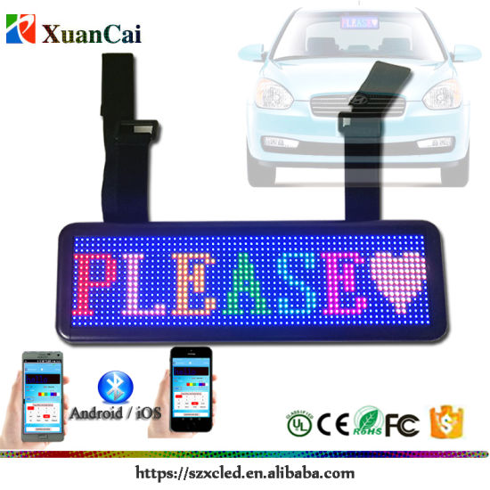 Advertisement LED Single Color Full Color Mirror Visual LED Mini Sign Bluetooth Communication Display Running Message for Car/Taxi Car Slogan