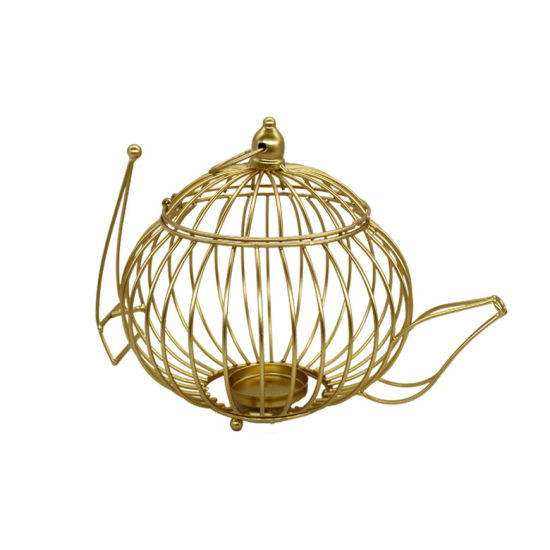 Decorative Lantern Metal Carry Handle Hanging Lantern with Gold Color and Glass Candle Holder Use