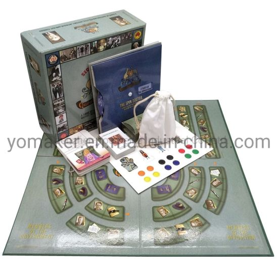 Custom Foldable Family Paper Board Game and Box Printing for Family Travel with Dice Token Spinner