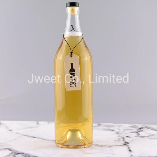 Empty Clear Beverage Liquor Spirit 1000ml Glass Bottle with Cork