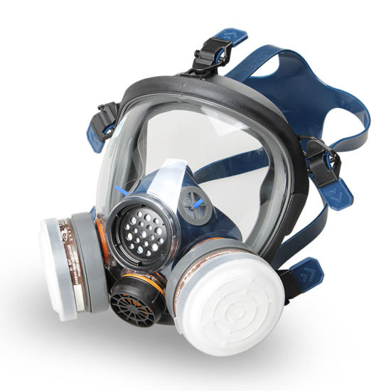 Full Face Rubber Respirator with Double Filters Chemical Full Face Gas Mask