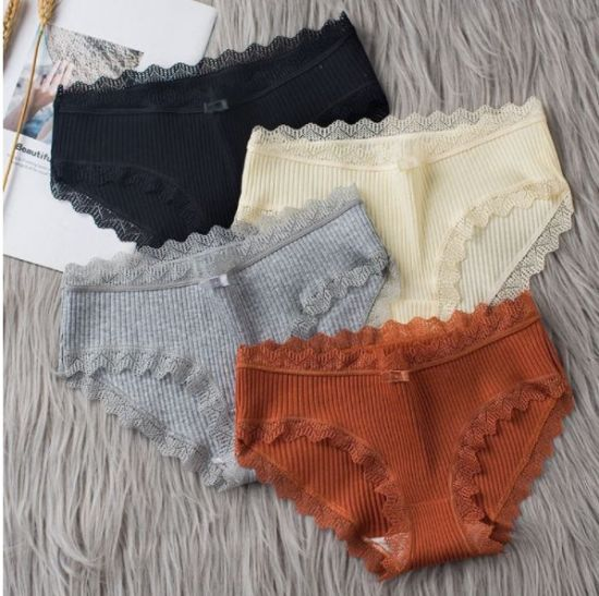 Cotton Panties Women Lace Briefs Slimming Soft Breathable Solid Color Ladies Panty Underwear