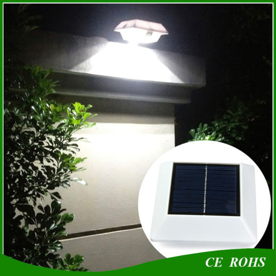 2PCS Solar Powered 4 LED Wall Mounted Gutter Night Lights Roof Outdoor Yard Lamp