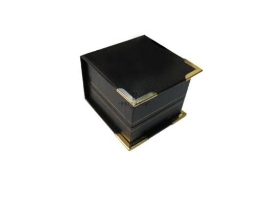 Custom Square Gold Corner Plastic Leatherette and Inside Flock Jewelry Gift Storage Packaging Box