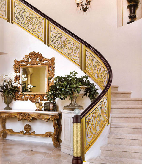 Hotel Gold Color Curved Stair Railing Aluminum Fence