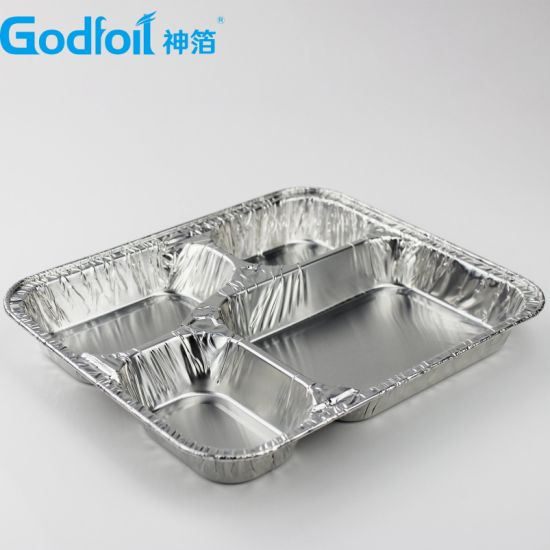 4 Compartment Lunch Box Aluminum Foil Container Lunch Box /Take Away Food  Tray/ Dish Catering 700 Ml Made in China