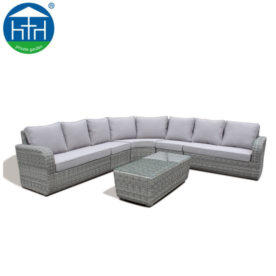 China Wholesales Outdoor Furniture L Shape Sectional PE Wicker Sofa