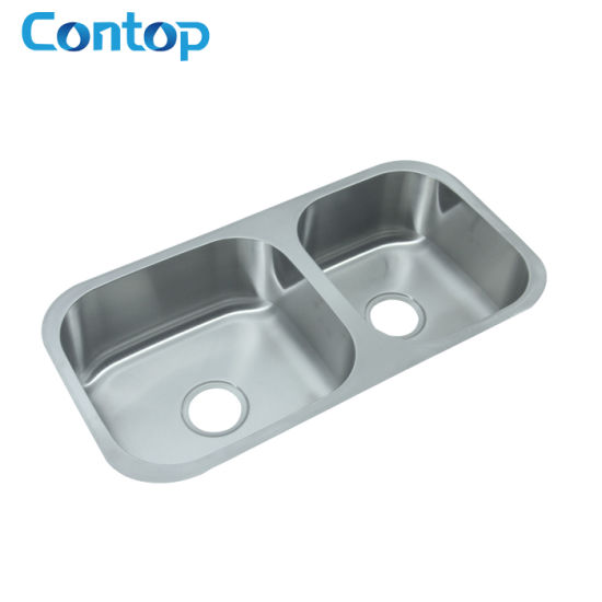 Stainless Steel Double Bowl Satin Finished Ktichen Undermount Sink pictures & photos